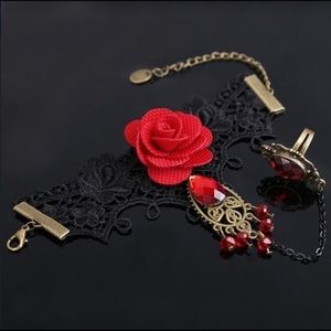 Jewelry - Gothic style lace bracelet /red rhinestone ring